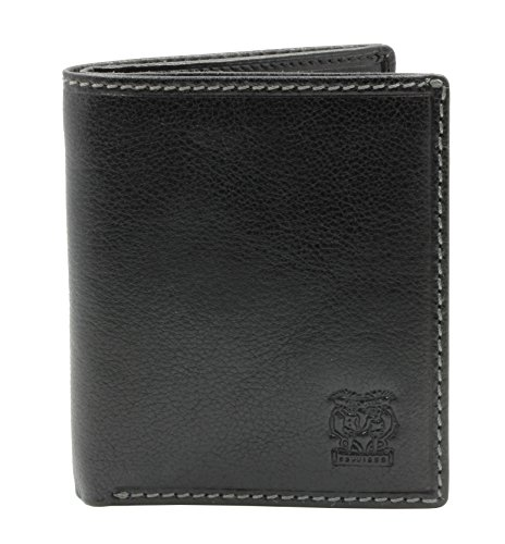 CAPPIANO Mens Billfold Wallet - North South - Vegetable Tanned Leather - 2 Full Length Note Section - 6 Credit Card Slots - Side Entry Slip-in Rear Pocket - Embossed CAPPIANO