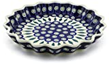 Polish Pottery 10½-inch Fluted Pie Dish (Peacock Leaves Theme) + Certificate of Authenticity