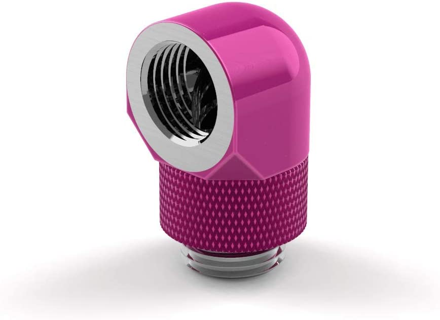 Candy Pink PrimoChill Male to Female G1//4 90 Degree Rotary Elbow Fitting