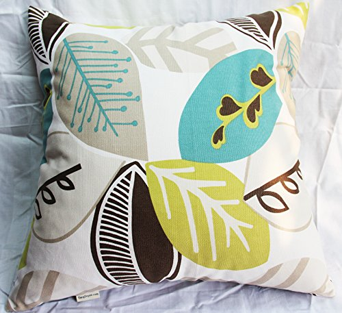 TangDepot Decorative Handmade Floral Leaf Throw Pillow Covers /Pillow Shams, 10 Sizes option – (16×16, Green Leaf)