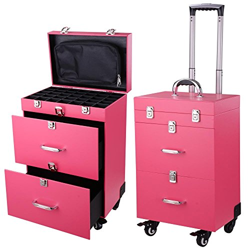 """Pink PVC 14x9x20"""" 4-Wheel Rolling Makeup Case Nail Drill Cosmetic Artist Trolley"""