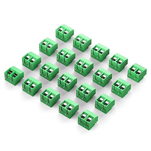 DIYhz green 20PCS 2P 2 Pin Screw Terminal Block Connector 5mm Pitch for Arduino 8A 250V (5 Screw Terminals)
