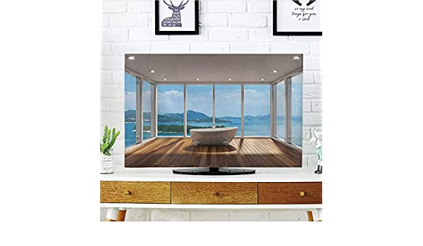 YCHY - Funda para televisor LCD, diseño de Granero de Madera con Ruedas, decoración de Pared con diseño de Calavera en el Carrito, Compatible con TV de 50 Pulgadas y 52 Pulgadas: