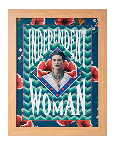 Mexican Art Artists - Frida Kahlo Independent Woman Framed Art Print, Mexican Artist Colorful Wall Art Ready to Hang, Wood Framed Home Decor 16