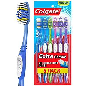 Best Epic Trends 51Ab9fxm89L._SS300_ Colgate Extra Clean Full Head Toothbrush, Medium - 6 Count