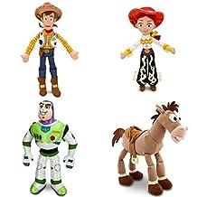 "Toy Story - 4 Piece Medium Plush Doll Combo Set with Woody 18"", Jessie 16"", Buzz Light Year 17"" and Bullseye 17"" by Disney"