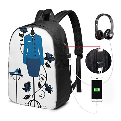 School Backpack Bags with USB Charging Port and Headphone Jack,Mannequin in Tailors Shop with Blooming Flower Retro Classical,17in
