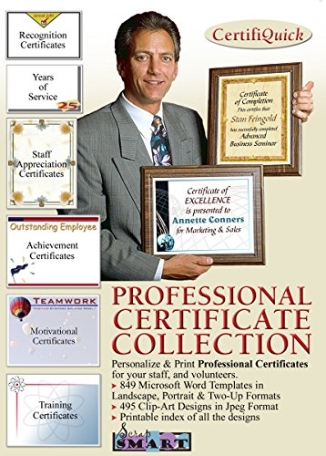 Certificate Collection (ScrapSMART - CertifiQuick - Professional Certificate - Software Collection - Jpeg & Microsoft Word files [Download])