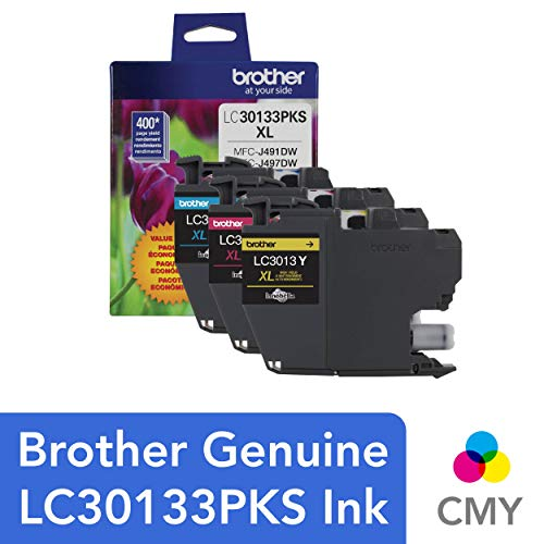 (Brother Printer Genuine LC30133PKS 3-Pack High Yield Color Ink Cartridges, Page Yield Up to 400 Pages/Cartridge, Includes Cyan, Magenta and Yellow, LC3013)