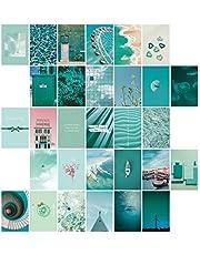 SAVITA 30 Stuks Collage Posters Kit voor Muur Esthetische, Dromerige Blauwe Esthetische Foto's voor Esthetische Muur Collage Kit Prints, Kamer Muur Kunst Decoratie