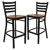 Cheap Flash Furniture 2 Pk. HERCULES Series Black Ladder Back Metal Restaurant Barstool – Cherry Wood Seat