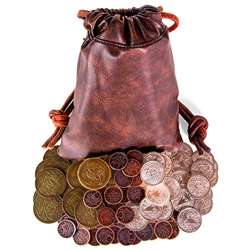 Deluxe Dragons Hoard Fantasy Game Coins with Leather Pouch - Set of 60 Coins!! (Coin Dragon Set Gold)