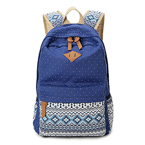 Winnerbag Leinwand drucken Frauen Schule Rucksäcke Rucksack Tasche für Mädchen im Teenageralter Vintage Laptop Rucksack Rucksack weiblichen Schultasche Mochila Hellgrau Blue yqE3fugx6