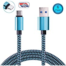 USB Type C Cable, USB C to USB A Charger, Nylon Braided Fast Charging Cord for Samsung Galaxy Note 8 S8,Google Pixel, LG V30 V20 G6 5, Nintendo Switch, OnePlus 5 3T 2 (Blue)