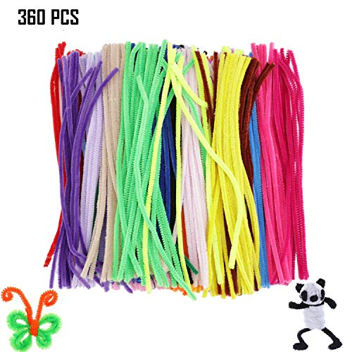 360 Pcs Colored Christmas Pipe Cleaners Bump Fiber Chenille Stems Sticks Wires 24 Colors Fuzzy Craft Pipe Cleaners Bulk for Kids Handmade DIY Art Craft Projects, Christmas Decorations (360 Pcs)]()