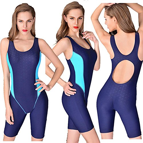 MIAO Damas Modesty Jumpsuit traje de baño de una pieza Surfing Traje de manga corta UPF 50 + traje de baño Blue