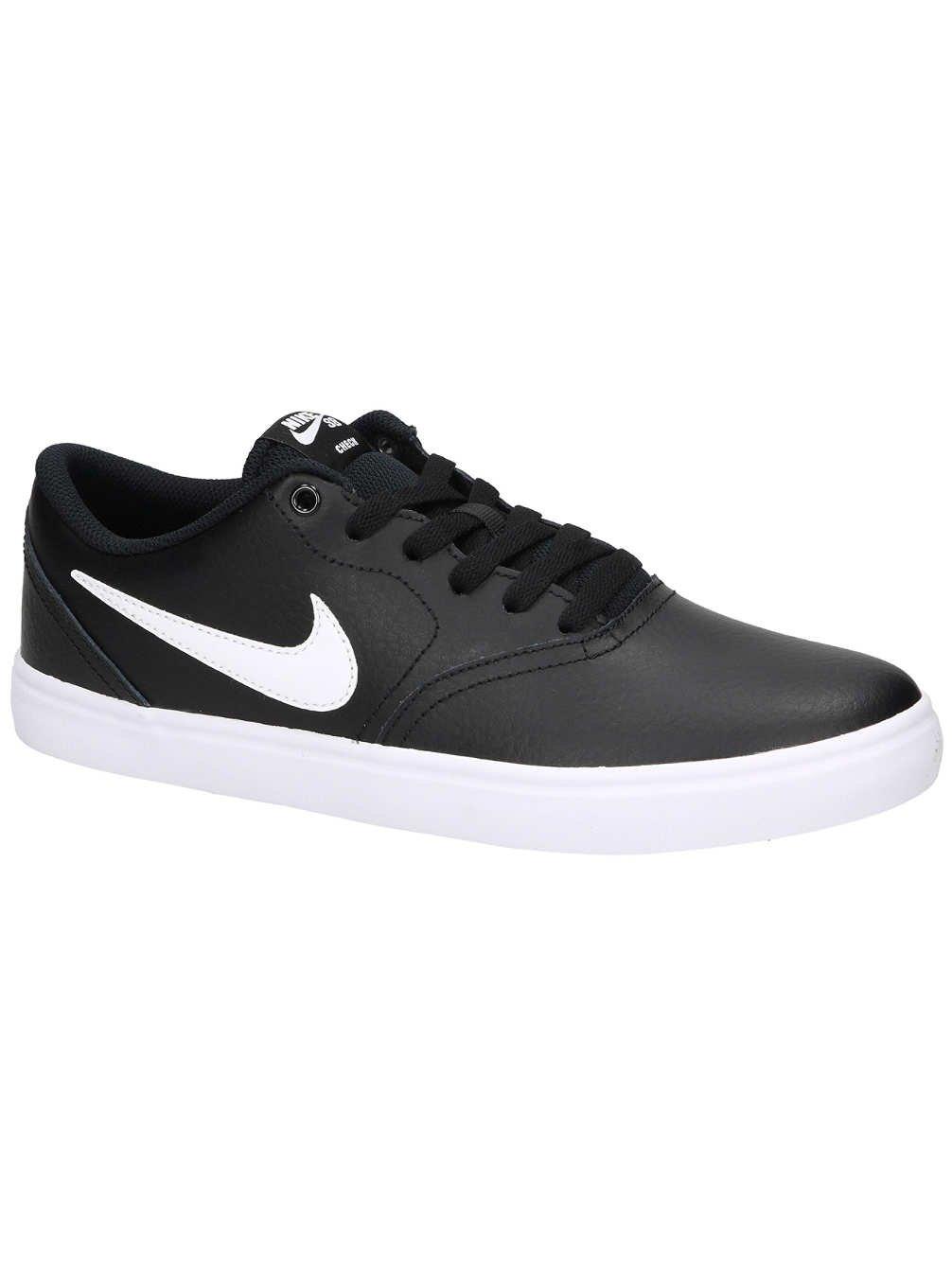 NIKE SB Check Solarsoft Leather Unisex Skate Shoes Black/White (11.5 D US)