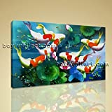 Large Koi Fish Pond Feng Shui Contemporary Canvas Art Print Home Decor BedRoom, Large Koi Fish Wall Art, Bedroom, Burnham