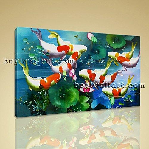 Feng Shui Contemporary Canvas Art Print Home Decor BedRoom, Large Koi Fish Wall Art, Bedroom, Burnham (Contemporary Fish Art)