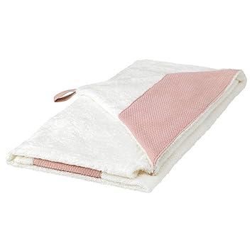 IKEA 403.638.38 - Toalla de bebé con capucha, color blanco y rosa