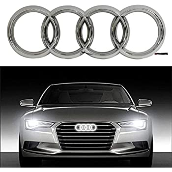 AUDI EMBLEM LED LIGHT FRONT GLOW LOGO BADGE RINGS BLACK GRILL A3 A4 A5 A6