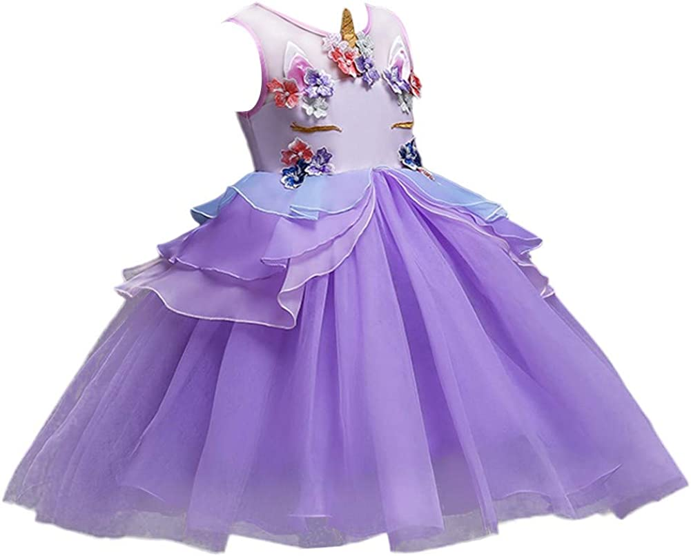 IZKIZF Girls Unicorn Costume Princess Tulle Dress w//Headband Birthday Pageant Party Carnival Cosplay Dress Up Outfits