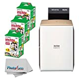 Fujifilm instax Share Smartphone Printer SP-2 (Gold) + Fujifilm Instax Mini Twin Pack Instant Film (60 Shots) + Photo4Less Cleaning Cloth + Portable Printer Bundle