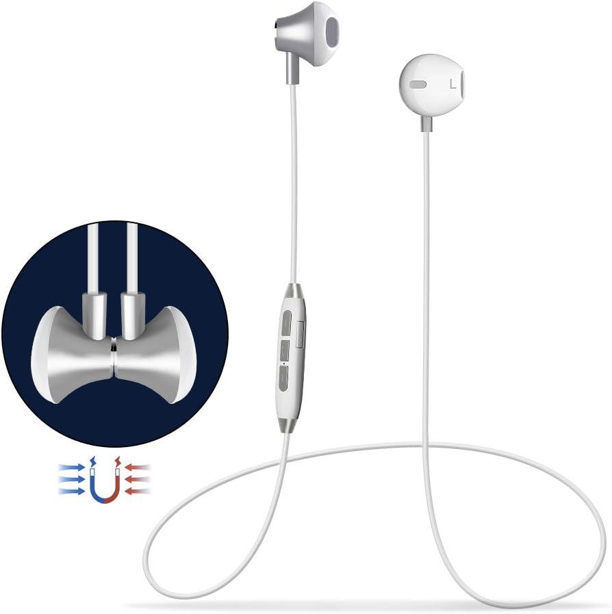 Auricular Bluetooth Manos Libres Bluetooth V4.1 Magnético In-Ear Auriculares Deportivos con Cancelación de Ruido avanzado, Estéreo, Sweatproof IPX4 Incorporado Micrófono para Android etc Smartphones