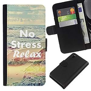 KLONGSHOP // Tirón de la caja Cartera de cuero con ranuras para tarjetas - Relájese Yoga Salud Deporte Paz calma - Sony Xperia Z3 D6603 //