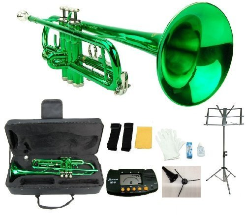 Merano B Flat Green / Silver Trumpet with Case+Mouth Piece+Valve Oil+Metro Tuner+Black Music Stand+Trumpet Stand by Merano