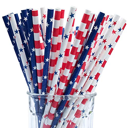 150 American Flag Red White Blue Paper Straw Combo, 3 Designs - 100% Biodegradable - 7.75 Inches - Memorial day and 4th of July Celebration Supply - 150 Straws, 3 -