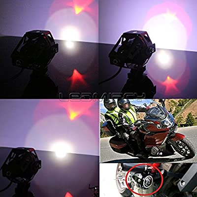 LEDUR Motorcycle Headlight Led U7 DRL Fog Driving Running Light with Angel Eyes Lights Ring Front Spotlight Strobe Flashing White Light and Switch(2PCS,White Halo): Automotive