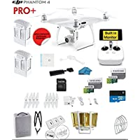 DJI Phantom 4 PRO Plus Quadcopter Drone with 1-inch 20MP 4K Camera KIT with Built in Monitor + 2 DJI Batteries + 2 64GB Micro SDXC Cards + Reader 3.0 + Prop Guards + Range Extender + Charging Hub