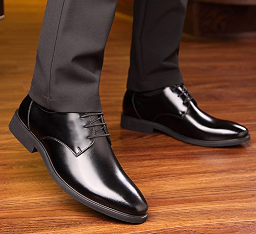 Yiiquan Hommes Pointu Loisir Affaires Chaussures Classique Formel PU Cuir Flâneurs Mocassin Décontractées Low-Top Chaud Chaussures Noir # 1 buAmqt