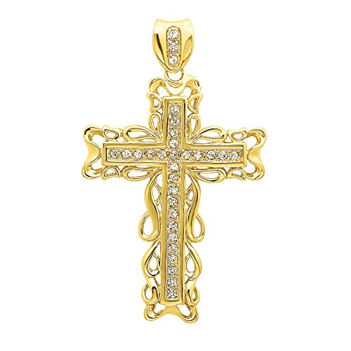 The Bling Factory Men's 2 Inch Large 14k Gold Plated Filigree Framed Cubic Zirconia Cross Pendant (48.5mm x -