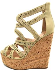 Cuckoo Womens Wedge High Heel Open Toe Sandals Strappy Criss Cross Shoes Wood Platform Pumps Shoes