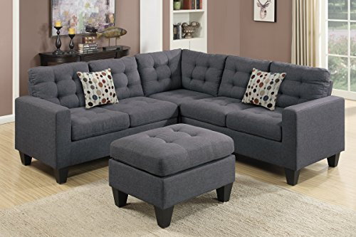 Poundex F6935 Bobkona Norton Linen-Like 4 Piece Sectional with Ottoman Set, Blue Grey