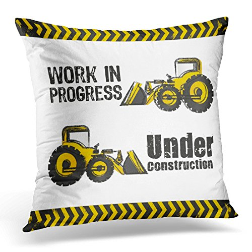 UPOOS Throw Pillow Cover Yellow Vehicle Backhoe Design Under Construction Excavator Truck Decorative Pillow Case Home Decor Square 18x18 Inches Pillowcase