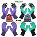 4 Pairs Garden Gloves With Fingertips Claws,Best Gift For Gardener,2 Pairs Working Gloves With Double Claws,2 Pairs without Claws,For Digging and Planting,Breathable.
