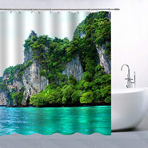 - Natural Mountain View Shower Curtain Green Cool Home Decor Bathroom Curtains Machine Washable Waterproof with Hooks 84