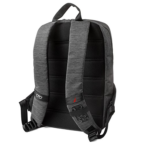 51AbDwF10ML - Nautica Men's Quilted Tech USB Water Resistant Nylon Laptop Backpack, Gray, One Size