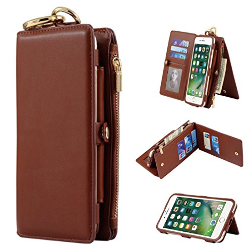 RP Ben iPhone 7 Plus multi-function mobile phone case, leather detachable zipper wallet case, two-in-one zipper multi-card holster Case For Apple iPhone 7 Plus 5.5 inch (Brown) (Ben Leather Belt)