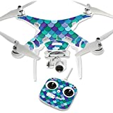 MightySkins Protective Vinyl Skin Decal for DJI Phantom 3 Standard Quadcopter Drone wrap cover sticker skins Blue Scales