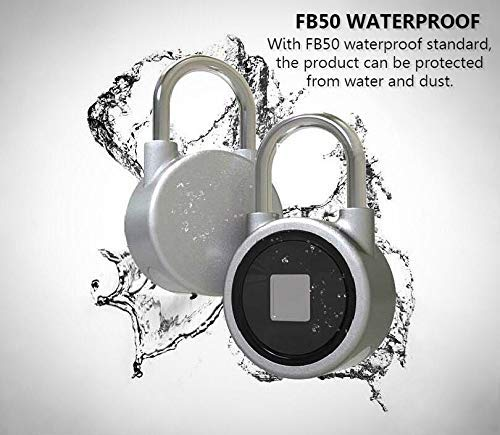 Bike etc with APP Remote Control Door Anti-Theft Fingerprint Padlock Backpack USB Charge Forget About Losing The Key Newest Product Version Waterproof for Gym