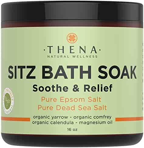Best Organic Sitz Bath Soak For Natural Postpartum Care Recovery & Hemorrhoid Treatment, Soothe Relieve Pain Reduce Discomfort, 100% Pure Epsom & Dead Sea Salts Witch Hazel Lavender Essential Oil