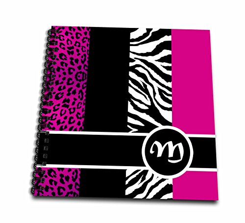 3dRose db_35622_1 Elegant Animal Print Monogram-Hot Pink M-Drawing Book, 8 by 8-Inch