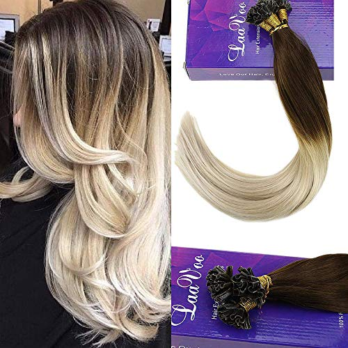 LaaVoo Italian Keratin Fusion Pre Bonded U tips Human Hair Extensions Nail Tips Straight European Salon Style Hair Extensions in Dark Brown to Light Blonde(#4/60) 18inch 50g/50strands
