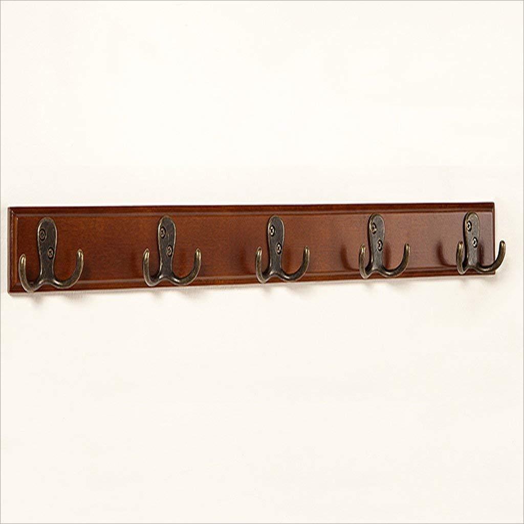 Brown Five hooks GJD Coat hooksmericanclam Hook Hook Five Rows of Hooks Coat Hooks, (color   Beige, Size   Six Hooks)