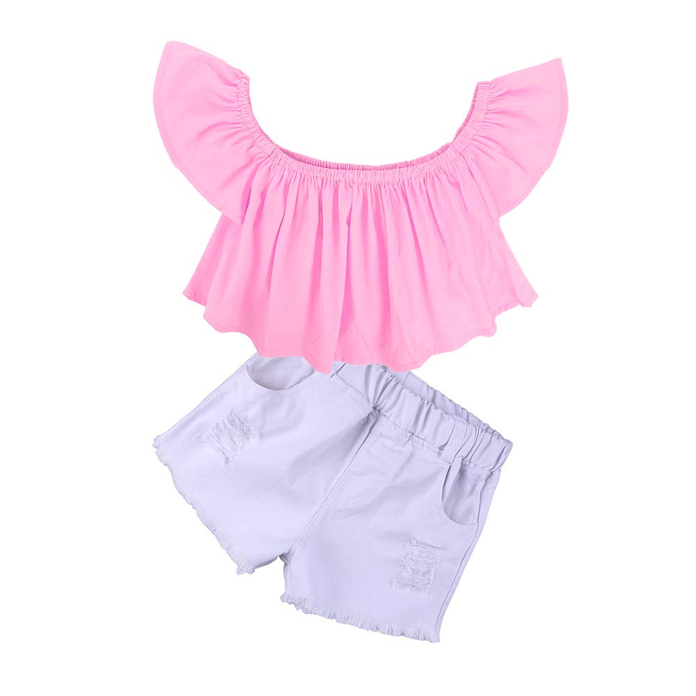 Kids Tales Girls Off Shoulder Pink Ruffle Top+Shorts+Headband 2Pcs Outfit Set