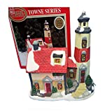 Dickens Collectibles 1996 Towne Series Rock Harbor Lighthouse Porcelain Lighted House 353-8311